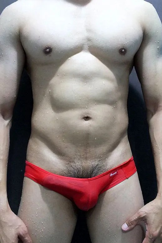 Cock in Red Speedo