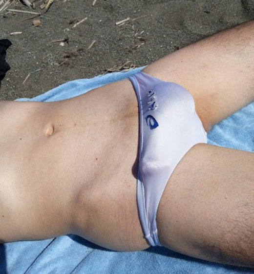 Cock in White Speedo