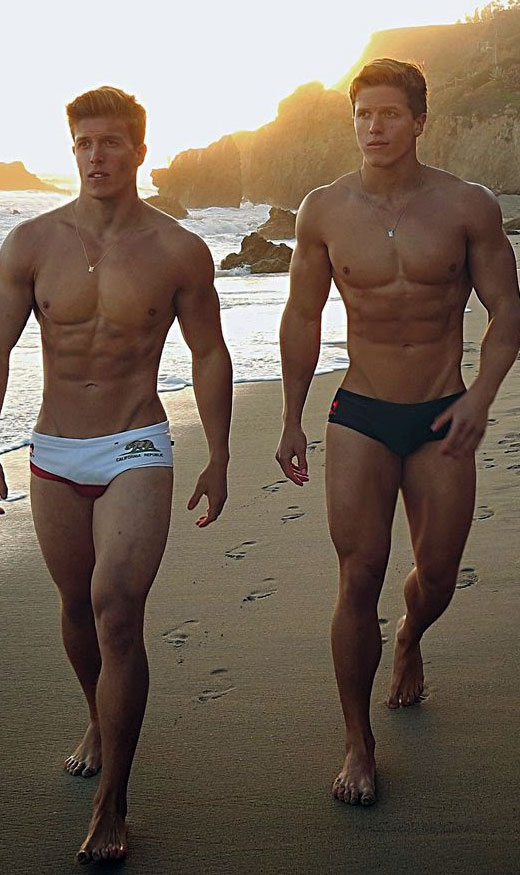 Speedo Models walking down the beach