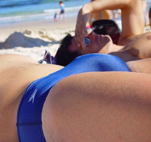 Blue Speedo on Beach