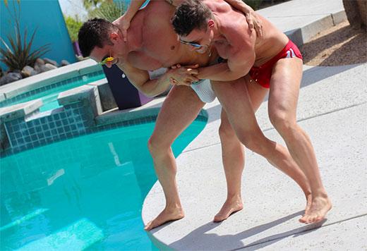 Wrestling in Speedos