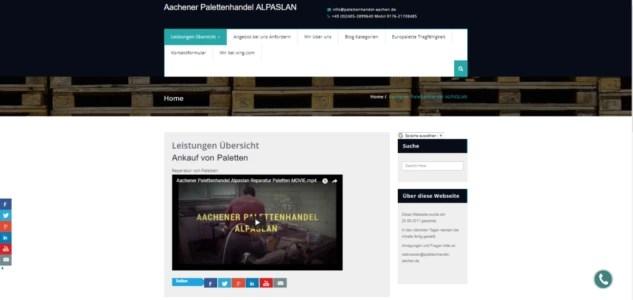 Webseite Aachener Palettenhandel mit Social Media Marketing
