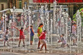 children in fountain