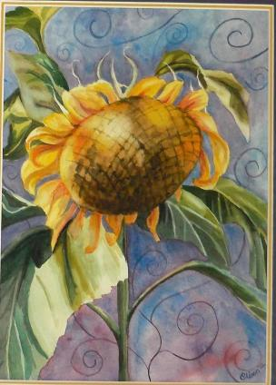 Alison Farmer, an extraordinary artist, brightened my day and, really, my life ...by sending me her painting of a sunflower, my favorite flower. You can see what an amazing artist she is.