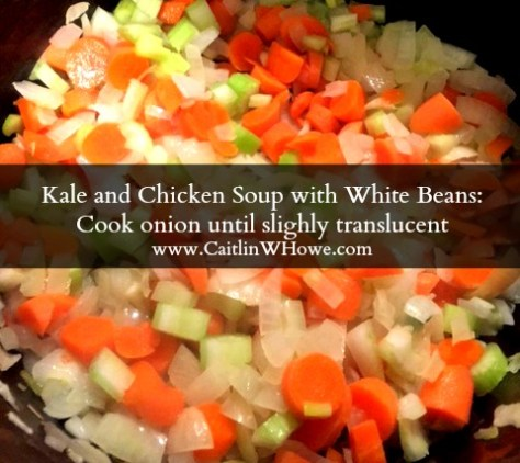 Kale and Chicken Soup with White Beans cook onion