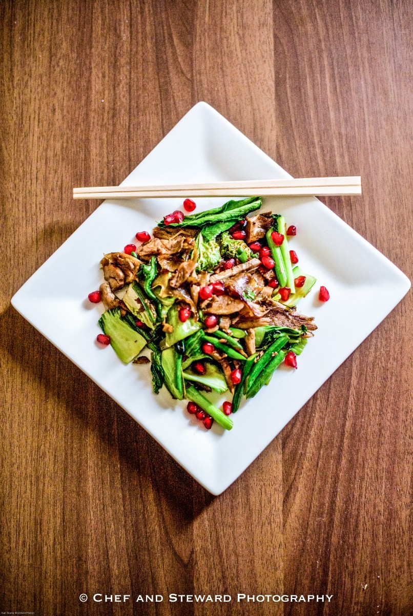 Reinventing Leftovers & Recipe for Chinese Duck Stir Fry with Pomegranate