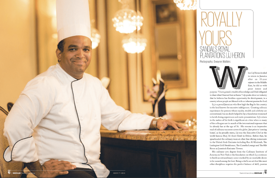 Exec Chef Lij Heron is featured in Indulge Magazine!