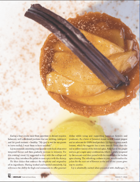Chef Lij is featured in Indulge Magazine caramelized mango tart with passion fruit sorbet dish by Sandals Executive Chef Lij Heron for Indulge magazine