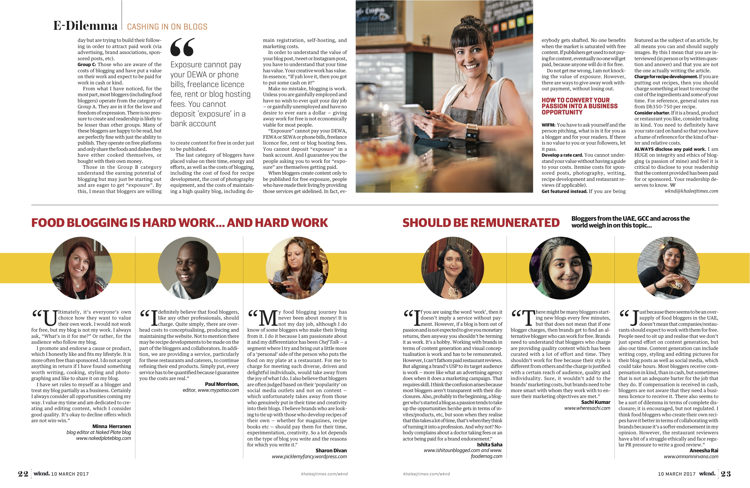 food bloggers talk about being paid how to get paid for blogging kari heron khaleej times when hunger strikes