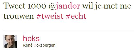 Rene Hoksbergen doet huwelijksaanzoek via twitter tijdens #tweist