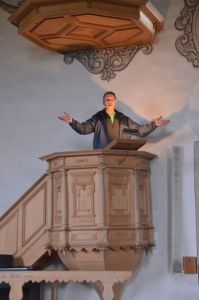 Standing in the pulpit of the church my mom's side of the family (Kropf) would have worshipped in the late1600's in Schwarzenegg, Switzerland.