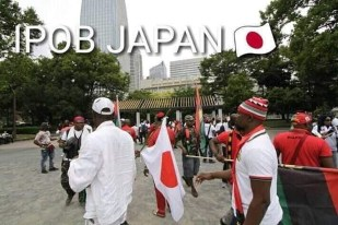 Protesting IPOB members waiting for President Buhari in Japan