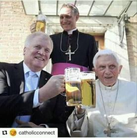 Pope Benedict XVI is a retired prelate of the Catholic Church Chilling with a glass of beer