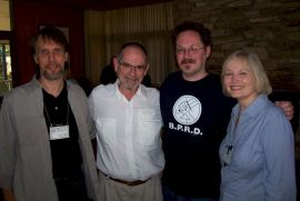 Laity Lodge Writing Retreat: Robert Treskillard with Stephen Lawhead, his son, Ross, and wife, Alice.