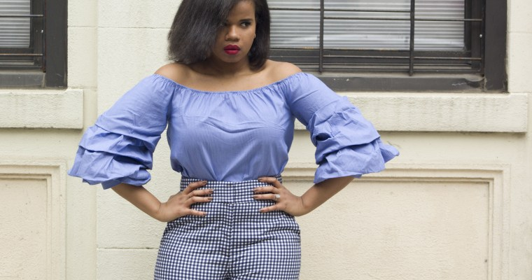 Off the shoulder statement sleeve top and gingham pants