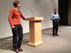 Dave and Amy Freeman speaking at Saint Olaf College
