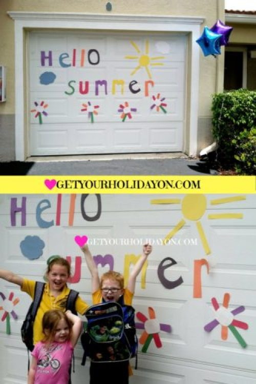 Talk about excitement when the kids got home from their last day of school and greeted with a HELLO SUMMER sign that we created for them to celebrate their accomplishments. It made them feel really special and they were so excited!!! :)
