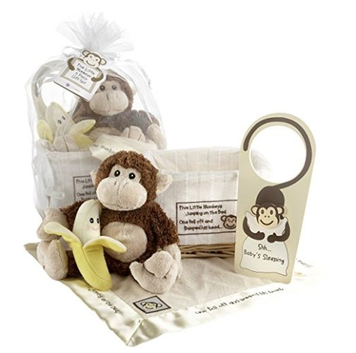 Baby Aspen Gift Set with Keepsake Basket Five Little Monkeys