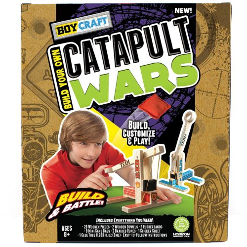 Take Pride in building and decorating this awesome Boy Craft Catapult Wars Build and Battle Kit. Grab a friend and have fun battling each other with this awesome gift idea for a birthday, a present for a party, summer fun and holidays.