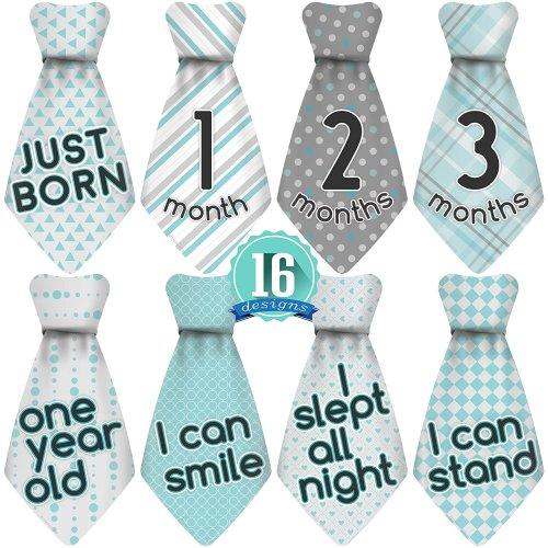 Stick'Nsnap (TM) 16 Baby Monthly Necktie Onesie Stickers
