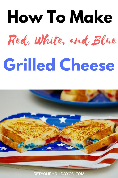 Amazing grilled cheese that's packed with red white and blue. This is seriously the coolest red, white, and blue color themed sandwich I've ever had! Brushed with butter, colored cheese, put on a 3-cheese baked bread. This crispy and cheese melted sandwich is sure to be a hit this Memorial Day or Fourth of July!