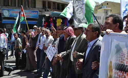 Anti-American protesters in Amman, Jordan on Friday (Al-Monitor)
