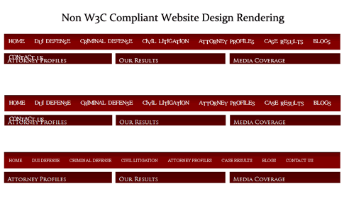 Code Errors Seen by Website Visitors. Non W3C Compliant website rendering in various browsers.