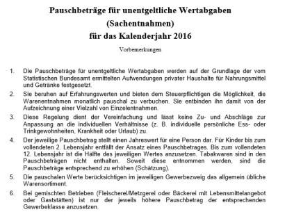pauschbeträge Sachentnahmen /untentgeltiche Wertentnahmen 2016 BMF