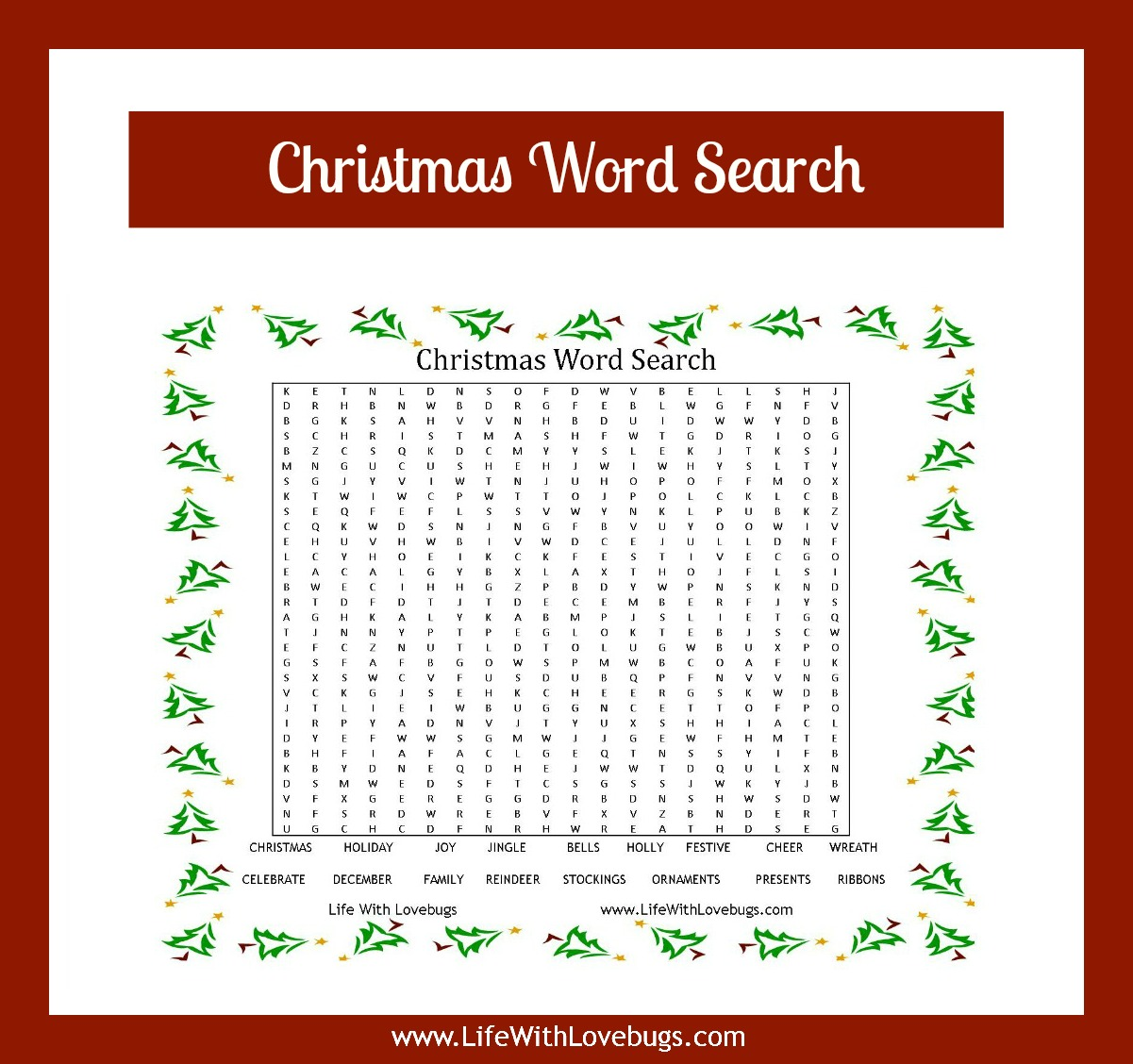 Workbooks word search worksheets for adults : Christmas Word Search {Printable} - Life With Lovebugs