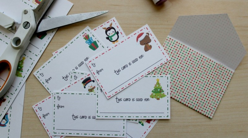 Printable Christmas Gift Card Coupons + Envelope Template