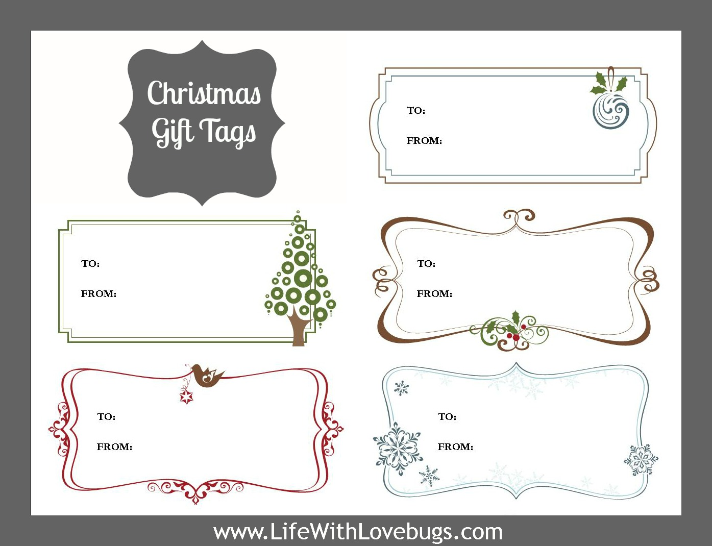 graphic relating to Christmas Tags Printable titled Xmas Present Tags Printable - Daily life With Lovebugs