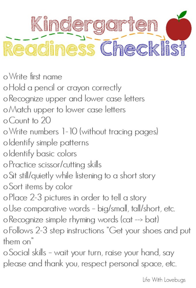Getting Ready For Kindergarten Printable Checklist