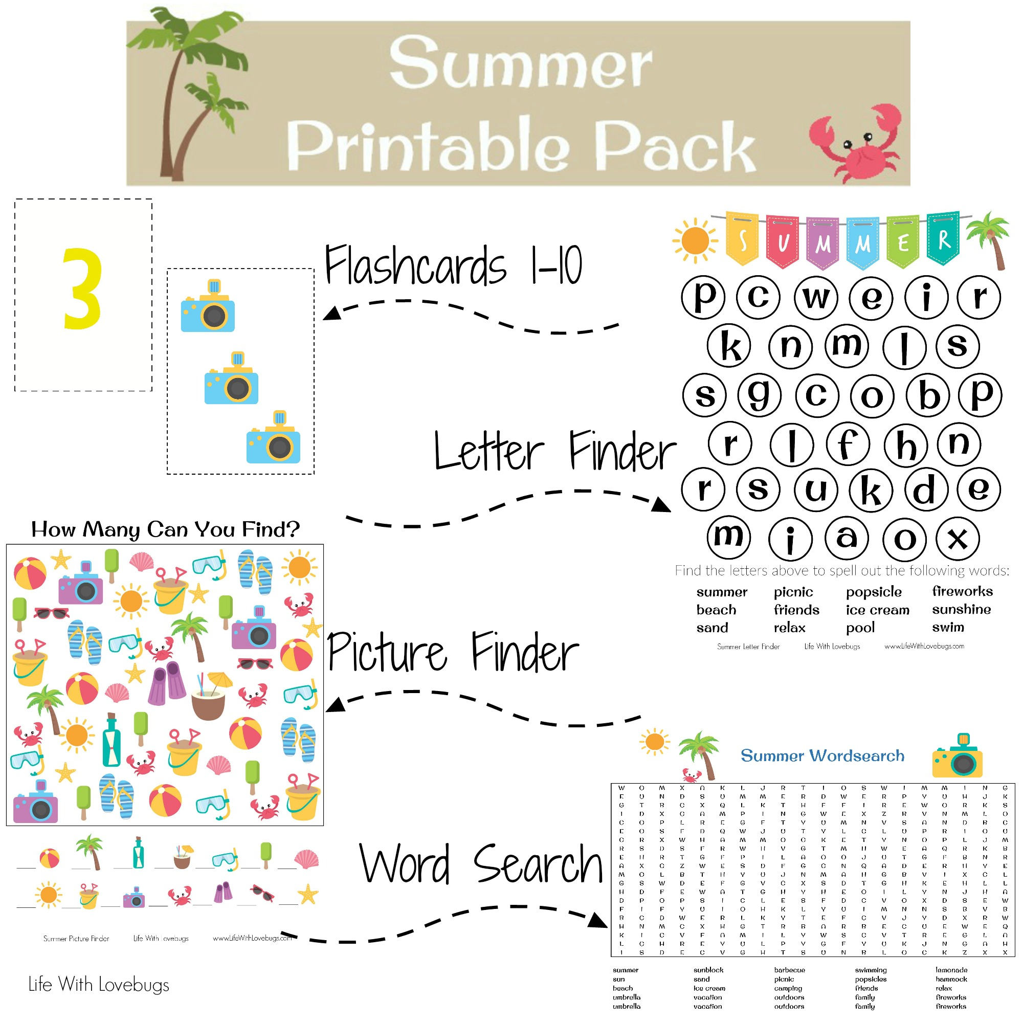 image regarding Summer Printable known as Summertime Printable Sport Sheets - Lifestyle With Lovebugs