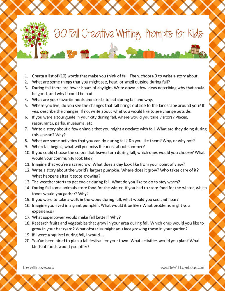 20 Fall Creative Writing Prompts for Kids