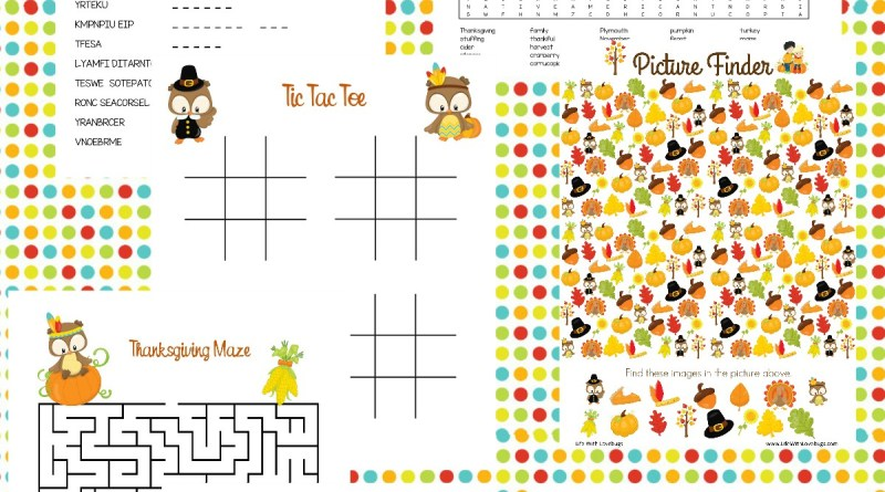 Printable Thanksgiving Themed Activity Pages for Kids