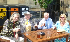 On the terrace in the Houses of Parliament - Knigel Knapp, Howling, Leon Slater and Joy Lawson.