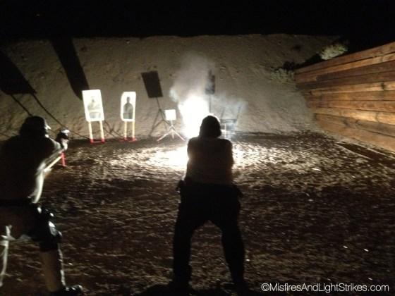 Shooting at targets at night