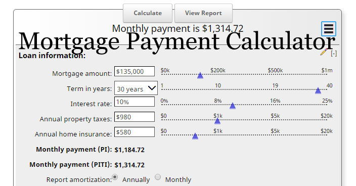 Mortgage Calculator With Taxes And Insurance PITI MLS Mortgage