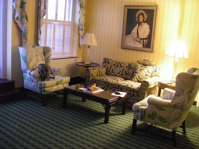 sitting room of my suite at The Greenbrier