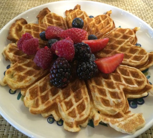Norwegian waffle at Mamsen's on Viking Star
