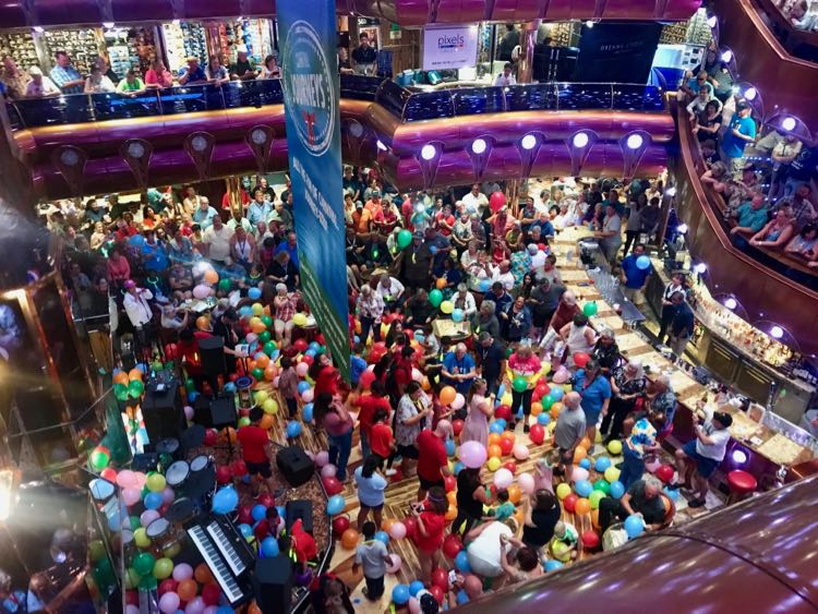 Balloon drop fun in the Carnival Freedom atrium