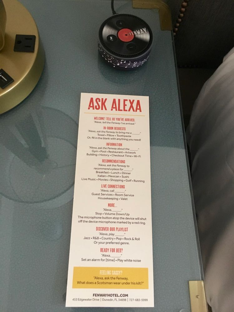 Alexa instructions at Fenway Hotel
