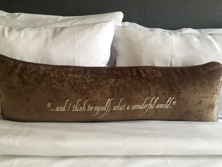 pillows at Fenway Hotel Dunedin have music lyrics on them