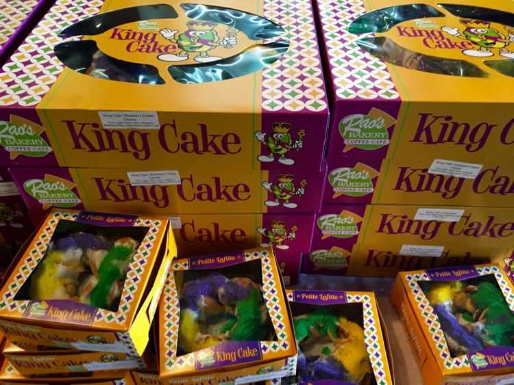 Mardi Gras king cakes at Rao's Bakery in Beaumont Texas
