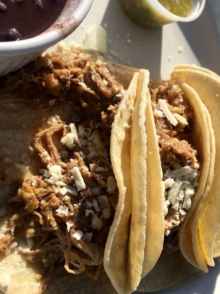 carnitas tacos at Amelia farm and Market in Beaumont