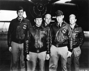 1st Bomber from the Doolittle Raid, Dick Cole 2nd from Right. Photo US Air Force