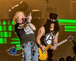 Axl Rose and Slash of Guns N' Roses performing in Saint Louis Thursday. Photo by Sean Derrick/Thyrd Eye Photography