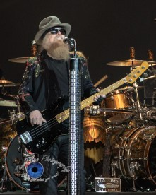 Dusty Hill of ZZ Top performs at the KSHE 95 50th Birthday Party at Hollywood Casino Amphitheatre in Saint Louis Saturday. Photo by Sean Derrick/Thyrd Eye Photography.