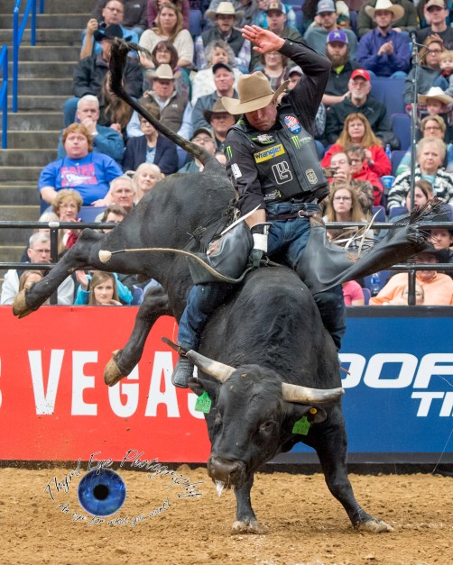 Guilherme Marchi competing in the PBR Saint Louis Invitational. Photo by Sean Derrick/Thyrd Eye Photography.