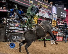 Mason Lowe competing in the PBR Saint Louis Invitational. Photo by Sean Derrick/Thyrd Eye Photography.